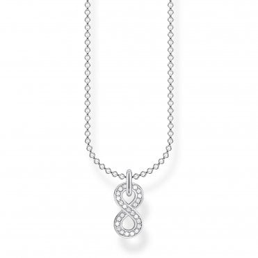 Glam and Soul Silver and CZ Infinity Loop Necklace Length 45cm