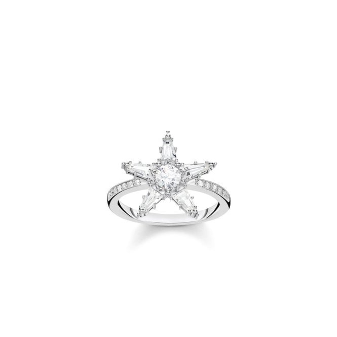 Thomas Sabo Glam and Soul Silver and CZ Large Star Ring, Size 54