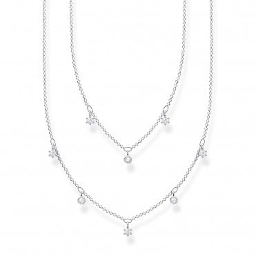 Glam and Soul Silver and CZ Layered CZ Necklace Length 45cm