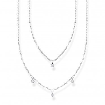Glam and Soul Silver and CZ Layered Necklace Length 45cm