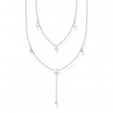 Glam and Soul Silver and CZ Layered Stars and Moon Necklace Length 45cm