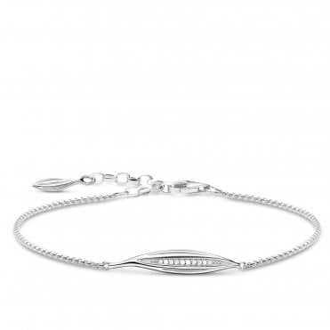 Glam and Soul Silver and CZ Leaf Bracelet