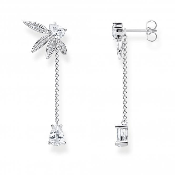 Thomas Sabo Glam and Soul Silver and CZ Leaf Drop Earrings