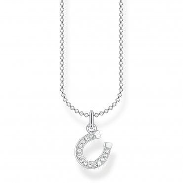 Glam and Soul Silver and CZ Lucky Horseshoe Necklace Length 45cm