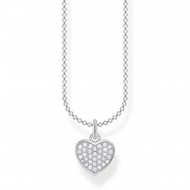 Glam and Soul Silver and CZ Lucky in Love Heart Necklace Length 45cm