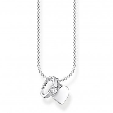 Glam and Soul Silver and CZ Married Bliss Ring and Heart Necklace Length 45cm