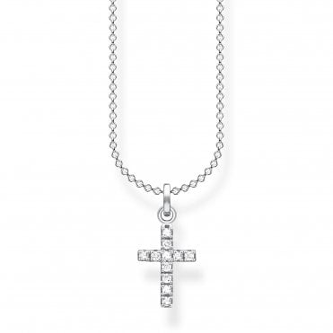 Glam and Soul Silver and CZ Simple Cross Necklace Length 45cm