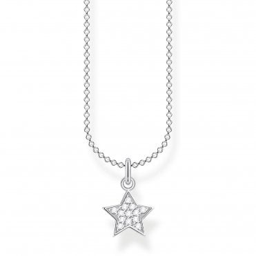 Glam and Soul Silver and CZ Sparkling Star Necklace Length 45cm