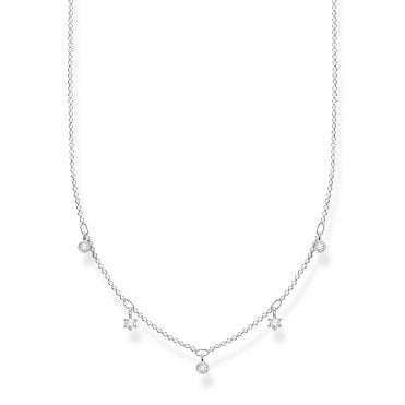 Glam and Soul Silver and CZ Stardrop Necklace Length 45cm