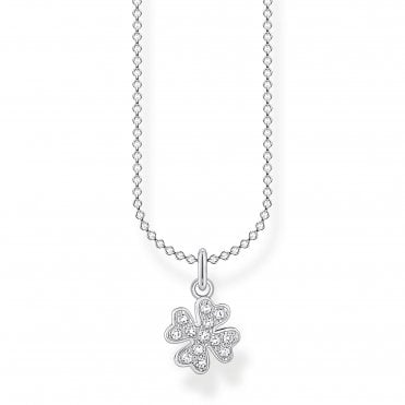 Glam and Soul Silver Lucky Clover Necklace Length 45cm