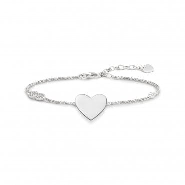 Heart & Infinity Bracelet in Silver with CZ, Size: 19.5cm