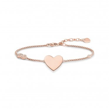 Heart & Infinity Bracelet in Silver with Rose Gold and CZ, Size: 19.5cm