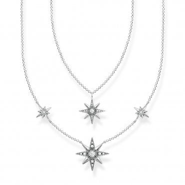 Magic Stars Double Layer Stars Necklace in Oxidised Silver with CZ, Size: 45cm