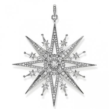 Magic Stars Royalty Star Pendant in Oxidised Silver with CZ