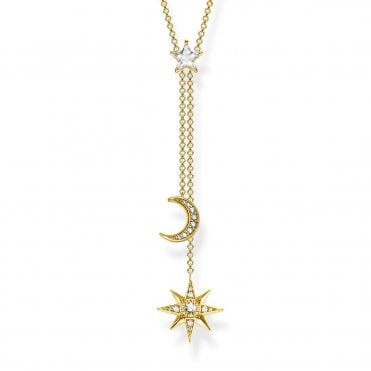 Magic Stars Star & Moon Pave Y-Shaped Necklace in Silver with Gold and CZ, Size: 45cm