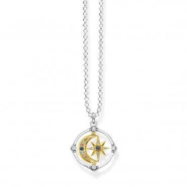 Magic Stars Star & Moon Pendant Necklace in Oxidised Silver with Gold and Multicoloured Zirconia Stones, Size: 50cm