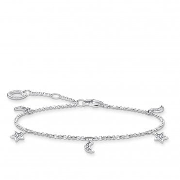 Moon & Stars Bracelet in Silver with CZ, Size: 19cm