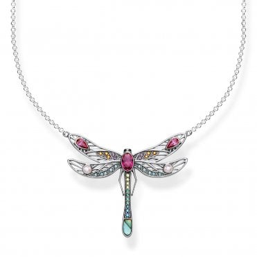 Paradise Dragonfly Large Pendant Necklace in Oxidised Silver and Multicoloured Zirconia Stones, Size: 45cm