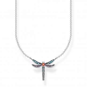 Paradise Dragonfly Small Pendant Necklace in Oxidised Silver with Enamel and CZ, Size: 45cm