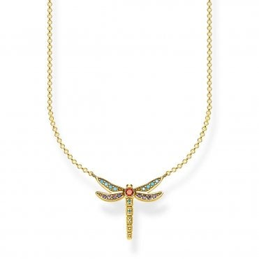 Paradise Dragonfly Small Pendant Necklace in Silver with Gold and Enamel, Size: 45cm