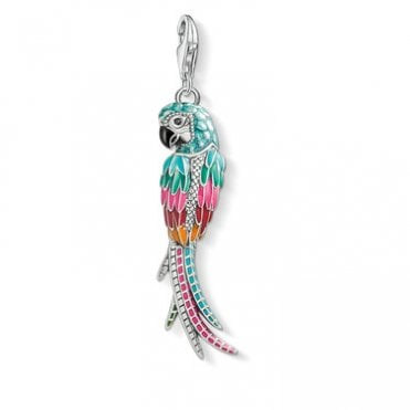 Parrat Pendant Charms in Oxidised Silver with Enamel and CZ