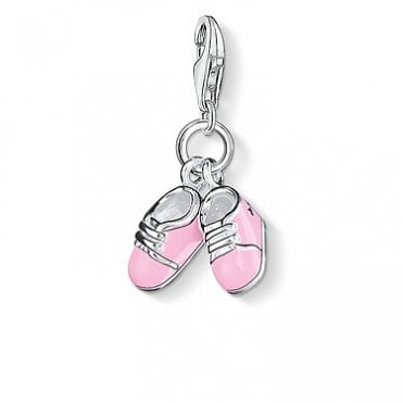 Pink Baby Shoes Pendant Charms in Silver with Enamel