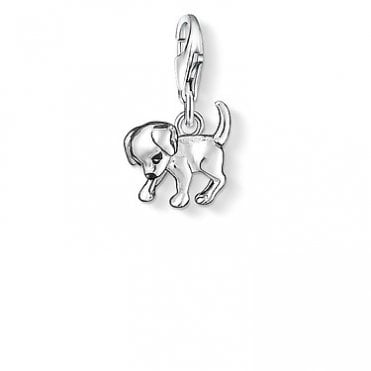 Puppy Pendant Charms in Silver with Enamel