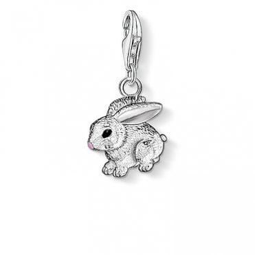 Rabbit Pendant Charms in Silver with Enamel