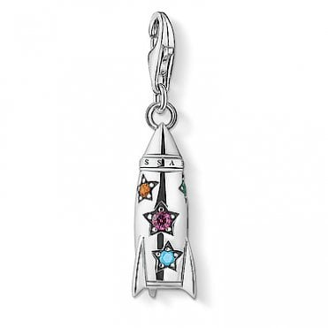 Rocket Pendant Charms in Oxidised Silver and Multicoloured Stones