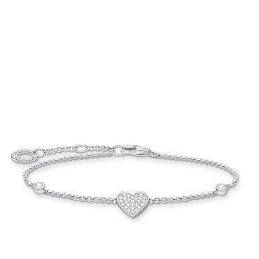 Silver and CZ Heart Charm on a Beaded Bracelet