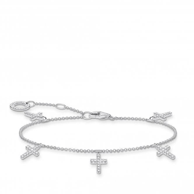 Thomas Sabo Silver and CZ Three Crosses Charm Bracelet