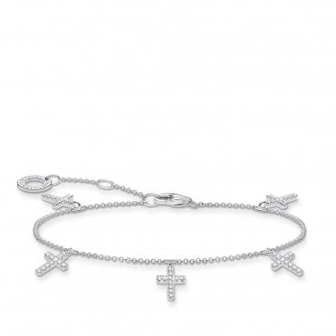 Silver and CZ Three Crosses Charm Bracelet