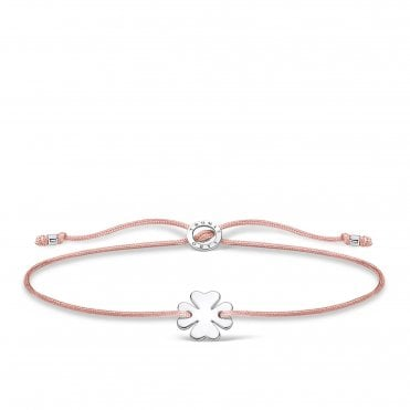 Silver Clover Leaf Friendship Bracelet in Pink