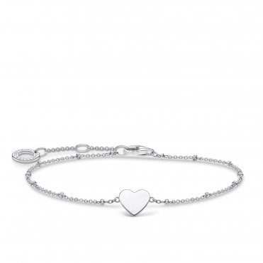 Silver Heart Charm on a Beaded Bracelet