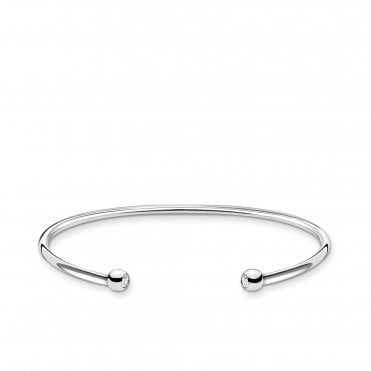 Simple Silver and CZ Dot Open Cuff Bangle - Medium