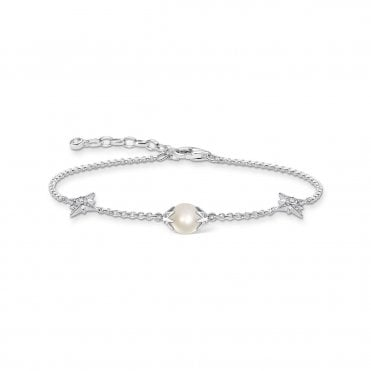 Stars Bracelet in Silver with Freshwater Pearl and CZ, Size: 19cm