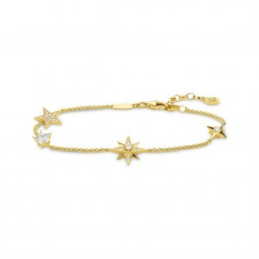 Stars Bracelet in Silver with Gold and CZ, Size: 19cm