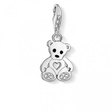 Teddy Bear with Heart Pendant Charms in Silver with Enamel and CZ