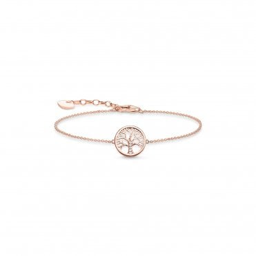 Tree of Love Bracelet in Silver with Rose Gold and CZ, Size: 19cm