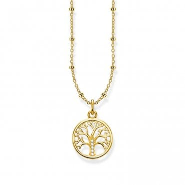 Tree Of Love Pendant Necklace in Silver with Gold and CZ, Size: 45cm