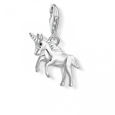 Unicorn Pendant Charms in Silver with Enamel