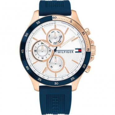 Bank Blue and Yellow Gold Chrono Sports Watch