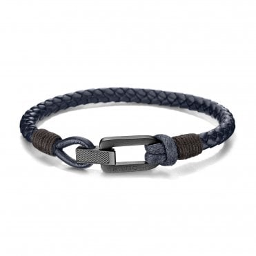 Casual All Black Braided Fold-Over Leather Bracelet