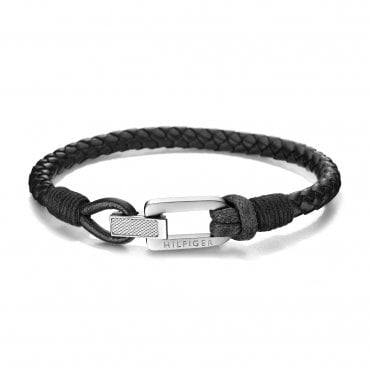 Casual Black & Silver Braided Fold-Over Leather Bracelet