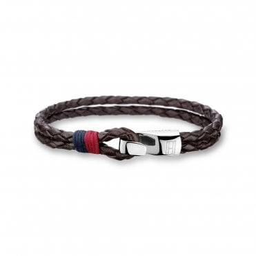 Casual Brown Braided Leather Bracelet