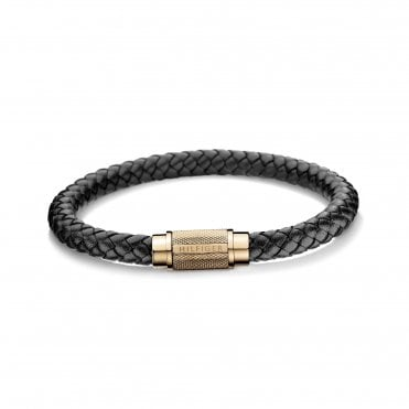 Casual Single Wrap Black & Rose Gold Braided Leather Bracelet