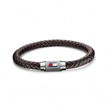 Casual Single Wrap Brown & Silver Braided Leather Bracelet