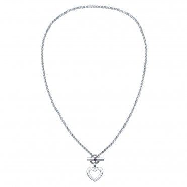 Classic Signature V-Day Silver & Enamel Heart Toggle Pendant Necklace