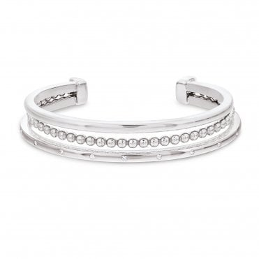Fine Stack Silver & Crystal Bangle
