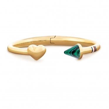 Fine V-Day Gold & Green Malachite Hinged Open Heart Bangle